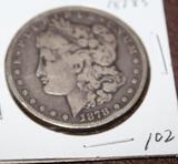 1878 S MORGAN SILVER DOLLAR, EXTRA FINE