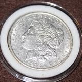 1878 MORGAN SILVER DOLLAR, ALMOST UNCIRCULATED