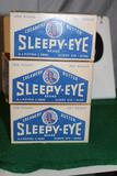 (3) SLEEPY EYE CREAMERY BUTTER 1 POUND BOXES, ALL HAVE SOME DAMAGE