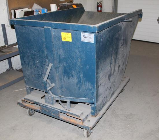 RAYFO APPROX. 2 YD. ROLLING DUMPSTER, FORK SLOTTED FOR DUMPING