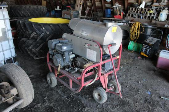 TUFF MFG HOT WATER PRESSURE WASHER, GX340 HONDA ENGINE, HOSE, WAND ON CART, S/N# 27975
