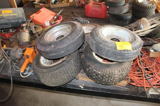 6 LAWN AND GARDEN TRACTOR TIRES AND RIMS