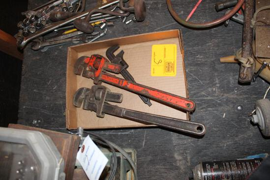 THREE PIPE WRENCHES