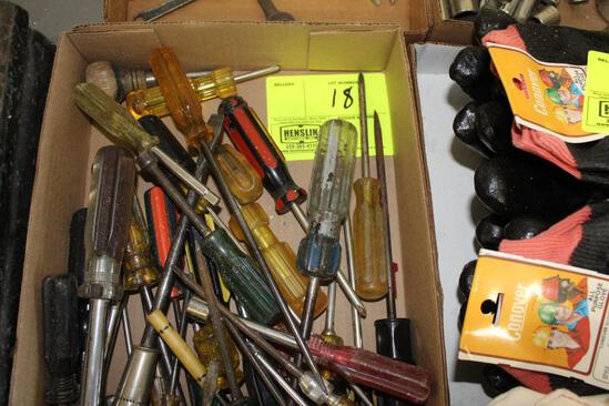 ASSORTED SCREWDRIVERS, BOXED END AND OPEN END WRENCHES