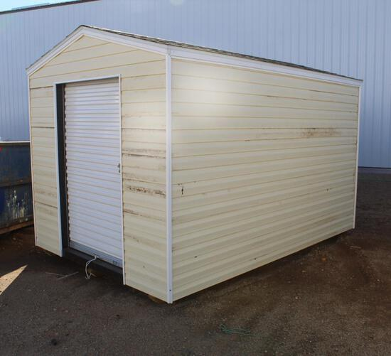 NEW 8' X 12' STORAGE SHED, VINYL SIDING, 4' ROLLUP DOOR