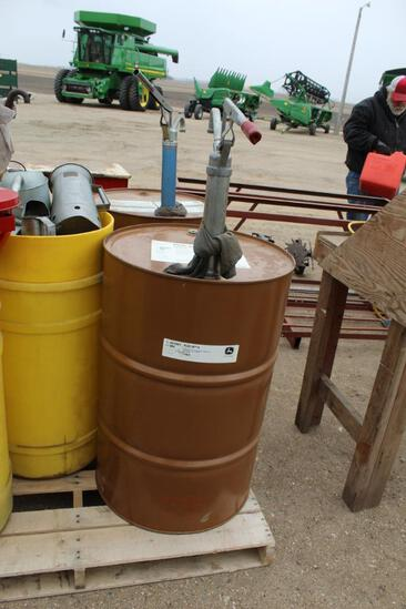 John Deere Plus 50II 55 Gal Drum of Oil, With Approx 2 Gallons Of Oil