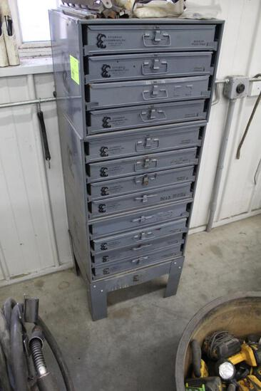 PARTS ORGANIZERS ON SLIDEOUT CABINET, 12 TRAYS, WITH CONTENTS INCLUDING: ELECTRICAL, AIR, ZERKS,