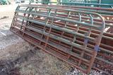 (3) APPROX 8', 10' & 14' ' NORTHWEST MFG, STEEL CATTLE GATES, 10' IS BENT