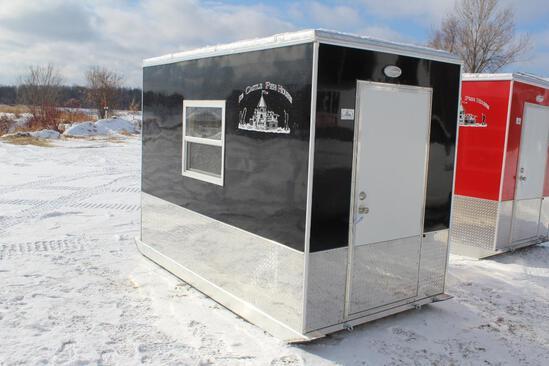 5.5' X 10' ICE CASTLE LITTLE SKIDDER FISH HOUSE, ALUMINUM FRAME,