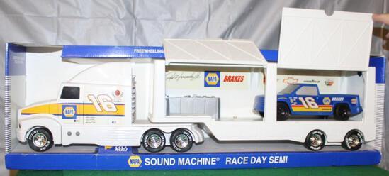 1/12 RON HORNADAY RACING DAY SEMI W/PICKUP;50TH ANNIVERSARY OF NASCAR; BOX HAS WEAR