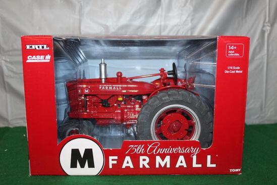 1/16 FARMALL M; NARROW FRONT; 75TH ANNIVERSARY OF FARMALL; BOX HAS LIGHT WEAR