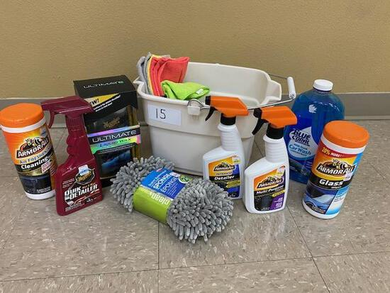 Car Wash Bucket: Ultimate Liquid Wax, Microfiber Sponge, ArmorAll Glass Wipes, ArmorAll Cleaning