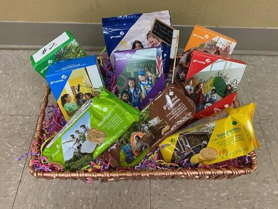 Girls Scout Basket- 9 boxes of Girl Scout Cookies and basket, Donated by Anna Moorse