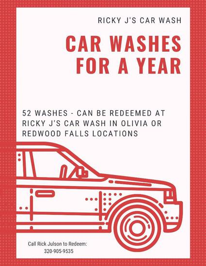 Car Washes for 1 year (52 - $10.00 Deluxe Washes) Donated by Ricky J's Car Wash