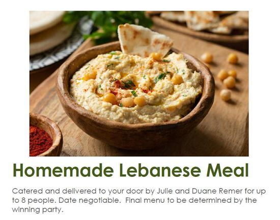 Homemade Lebanese Meal for 8. Catered and delivered to your door by Julie and Duane Remer. Date