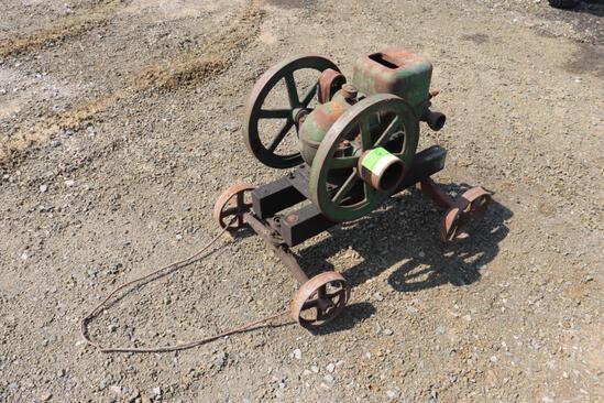 """John Deere Model """"E"""" Engine on a Steel Wheel Cart, Engine is Loose"""