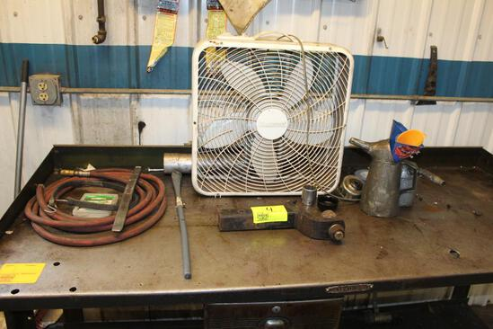 Receiver Hitch, Tire Tools, Air Hose, Box Fan, Oil Filter Wrenches