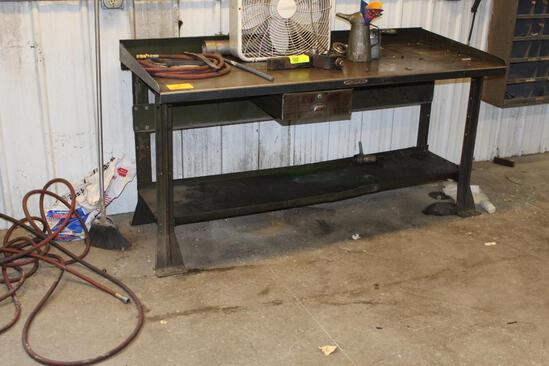 "29"" x 72"" Hallowell Steel Work Bench with 1 Drawer"
