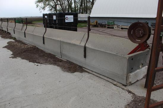 (4) 8' CEMENT J BUNKS WITH RAIL AND CABLE, $ X 4