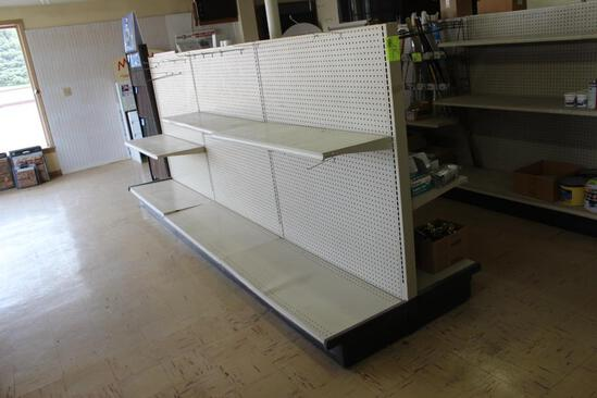 3 SECTIONS OF LOZIER SHELVING WITH SHELVES, ONE MONEY