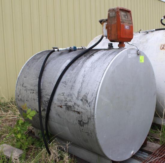 500 GALLON DIESEL BARREL, GASBOY PUMP, 110 VOLT