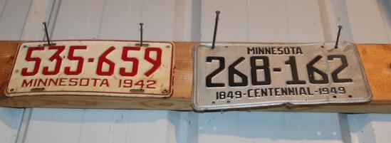 2 LICENSE PLATES, (1) 1942, AND (1) 1949 CENTENNIAL