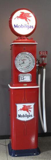1934 Mobil Gas Clock Face Gas Pump, Made By Bennett, Restored, Lighted Globe,