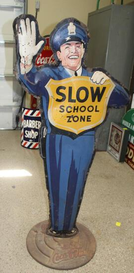 """29""""x63"""" Coca-Cola Expanded 3D School Crossing Guard Character, on Cast Drink Coca-Cola Base"""
