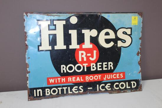 """19""""x27.5"""" Hires Root Beer Embossed Metal Sign, Single Sided, Bottom Has Damage"""