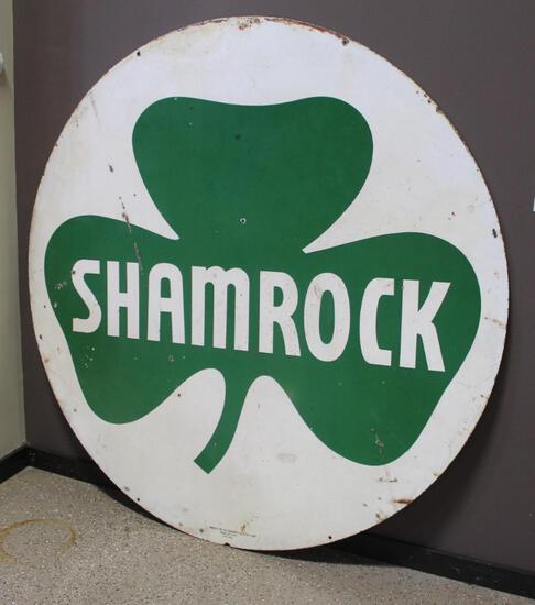 "72"" Round Shamrock Double Sided Porcelain Sign, Property Of The Shamrock Oil & Gas Corp."