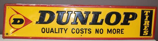 "14""x60"" Dunlop Tires Single Sided Metal Sign, Embossed, 1-70, A-M Inc, Lynchburg, Va"