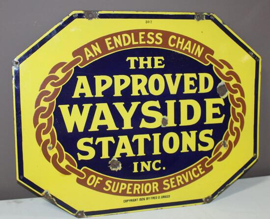 """22""""x28"""" The Approved Wayside Station Inc, Double Sided Porcelain Sign, Octagon,"""