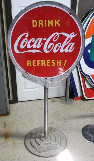 """30"""" Round Coca-Cola Double Sided Lollipop Porcelain Sign, Cast Base, """"Drink Coca-Cola"""""""