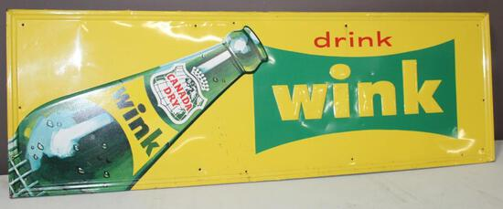 """18""""x54"""" Drink WINK, Single Sided Sign, Embossed, 5-69, S.S. Co."""