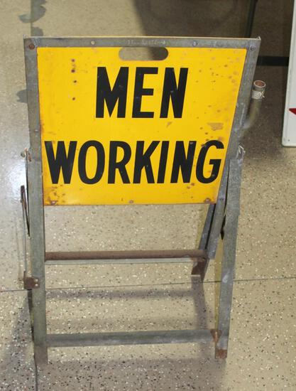 """20""""x33"""" MEN WORKING, Double Sided Metal Sign, Folding A Frame"""
