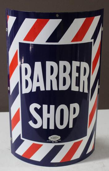 """14.5""""x24"""" Barber Shop Single Sided Sign, Curved, No. 2418, William Marvy Company, St Paul 5 Minn"""