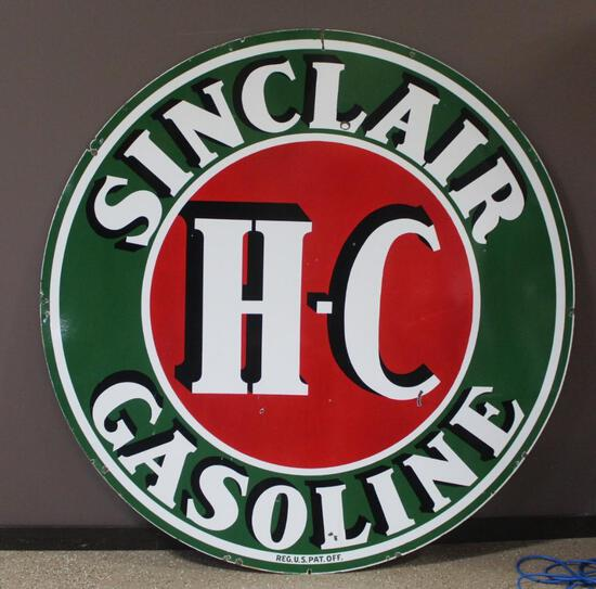 """72"""" Round Sinclair H-C Double Sided Porcelain Sign"""