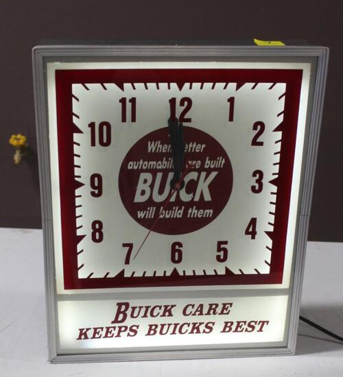 """15""""x18.5"""" Buick Care Keeps Buick's Best Clock, Lighted, Works, Built By Lackner Cin,O"""