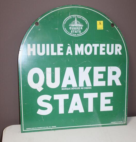 """26.5""""x29"""" Canadian Quaker State Double Sided Porcelain Sign"""