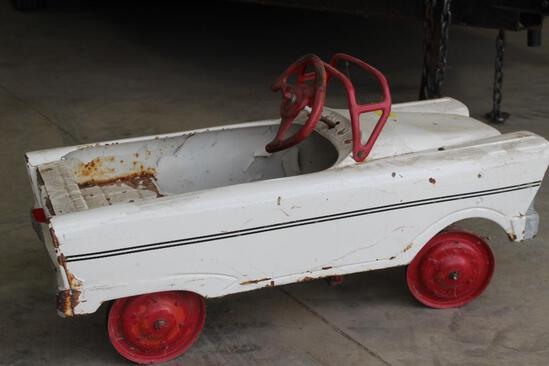 PEDDLE CAR, 2 TIRES ARE MISSING RUBBER, PAINT IS CHIPPED