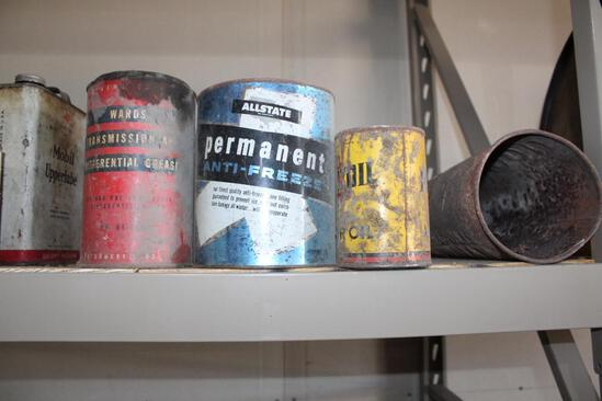 WARDS DIFFERENTIAL GREASE CAN, ALLSTATE METAL ANTIFREEZE CAN, TOP CUT OUT,