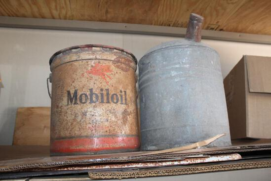 MOBIL 5 GALLON OIL CAN, 5 GALLON METAL CAN