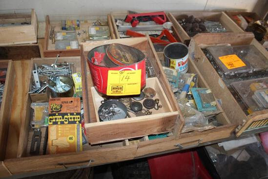 (5) BOXES OF HINGES, BRAD NAILS, METAL CORNERS AND MORE