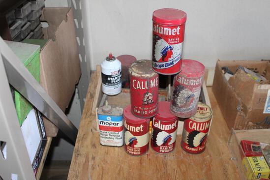 (4) WOOD CHEESE BOXES AND (6) CALUMET BAKING POWDER TINS