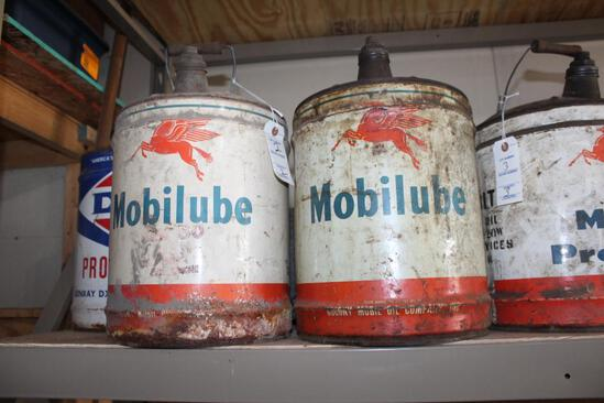 (2) MOBIL LUBE 5 GALLON OIL CANS WITH FLYING HORSE PICTURE