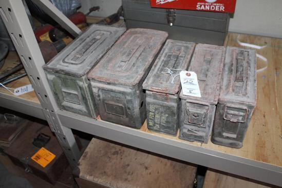 (5) AMMO BOXES, VARIOUS SIZES