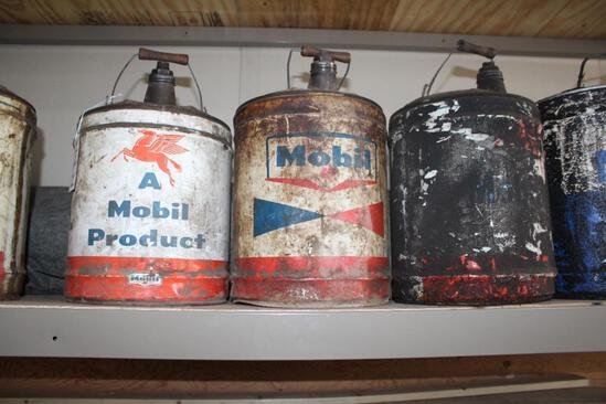 (3) MOBIL 5 GALLON OIL CANS