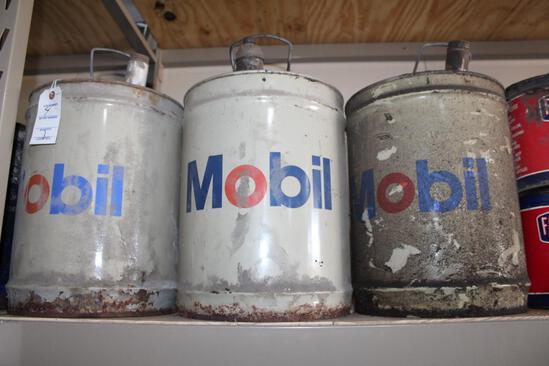 (4) MOBIL 5 GALLON OIL CANS, ONE HAS BEEN PAINTED ON