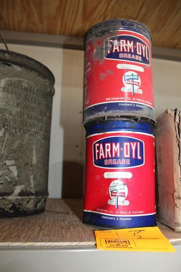 (2) FARM-OYL GREASE CANS