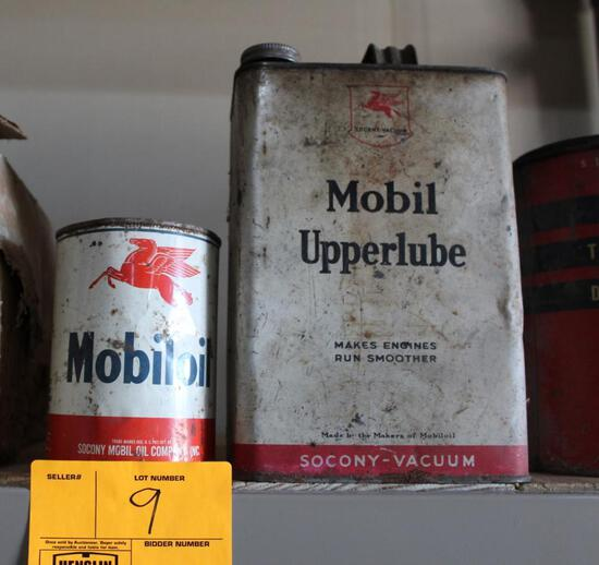 ONE GALLON MOBIL OIL CAN AND ONE QUART METAL OIL CAN WITH TOP CUT OUT